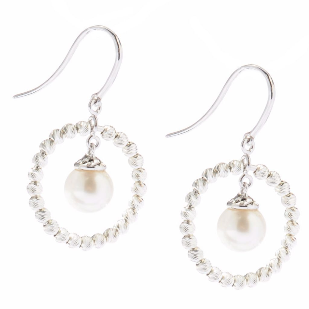 124-999 - Gem Insider Sterling Silver 7.5-8.0mm Freshwater Cultured Pearl Circle Earrings