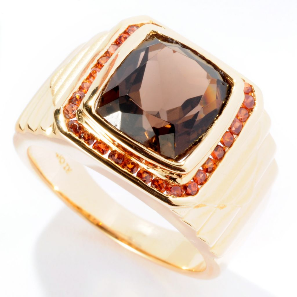 125-018 - NYC II Men's 5.19ctw Smoky Topaz & Mocha Zircon Ring