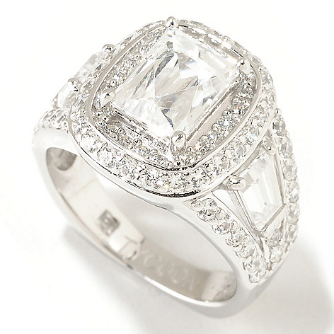 125-023 - TYCOON 3.44 DEW Rectangular TYCOON CUT Simulated Diamond Halo Ring