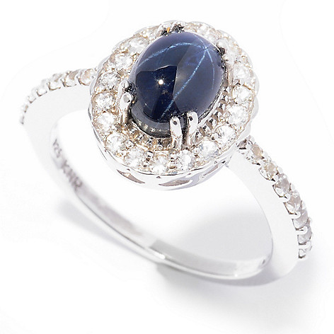 125-031 - Gem Insider Sterling Silver Blue Star Sapphire & White Sapphire Halo Ring