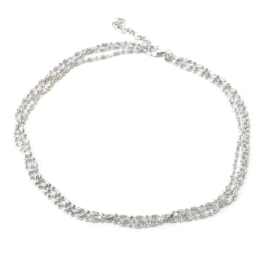 "125-033 - Palatino™ Platinum Embraced™ 18"" Multi Strand Diamond Cut Necklace"