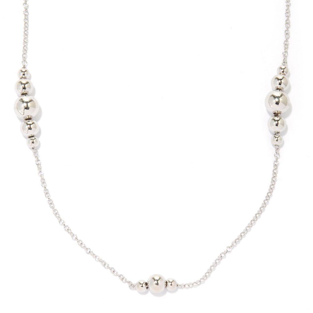 "125-037 - Palatino™ Platinum Embraced™ 28"" Graduated Bead Station Necklace"