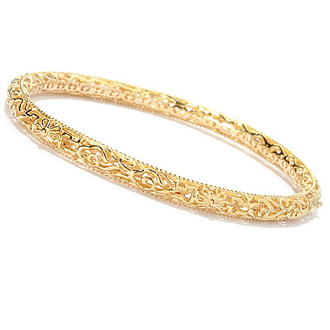 125-047 - Jaipur Bazaar Gold Embraced™ 8'' Textured Slip-on Bangle Bracelet