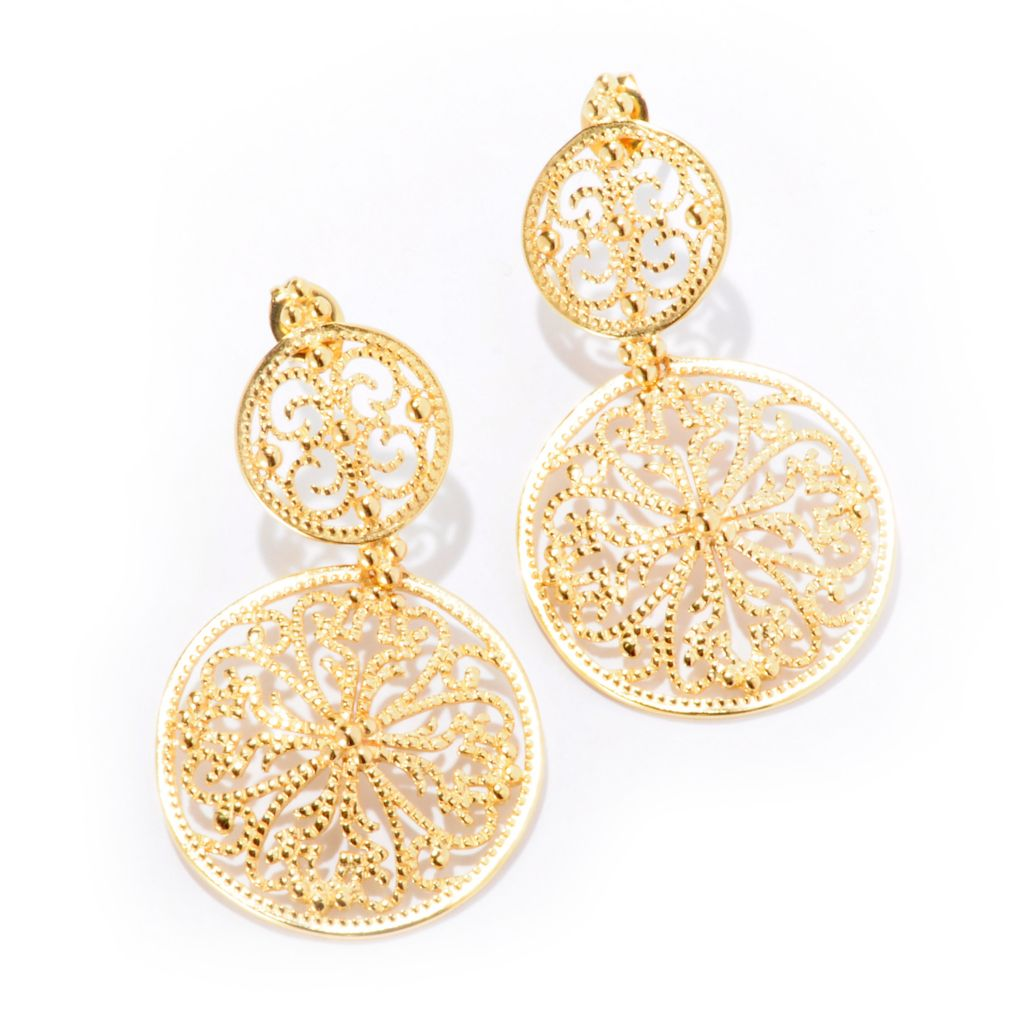 "125-048 - Jaipur Bazaar Gold Embraced™ 1.5"" Filigree Medallion Drop Earrings"
