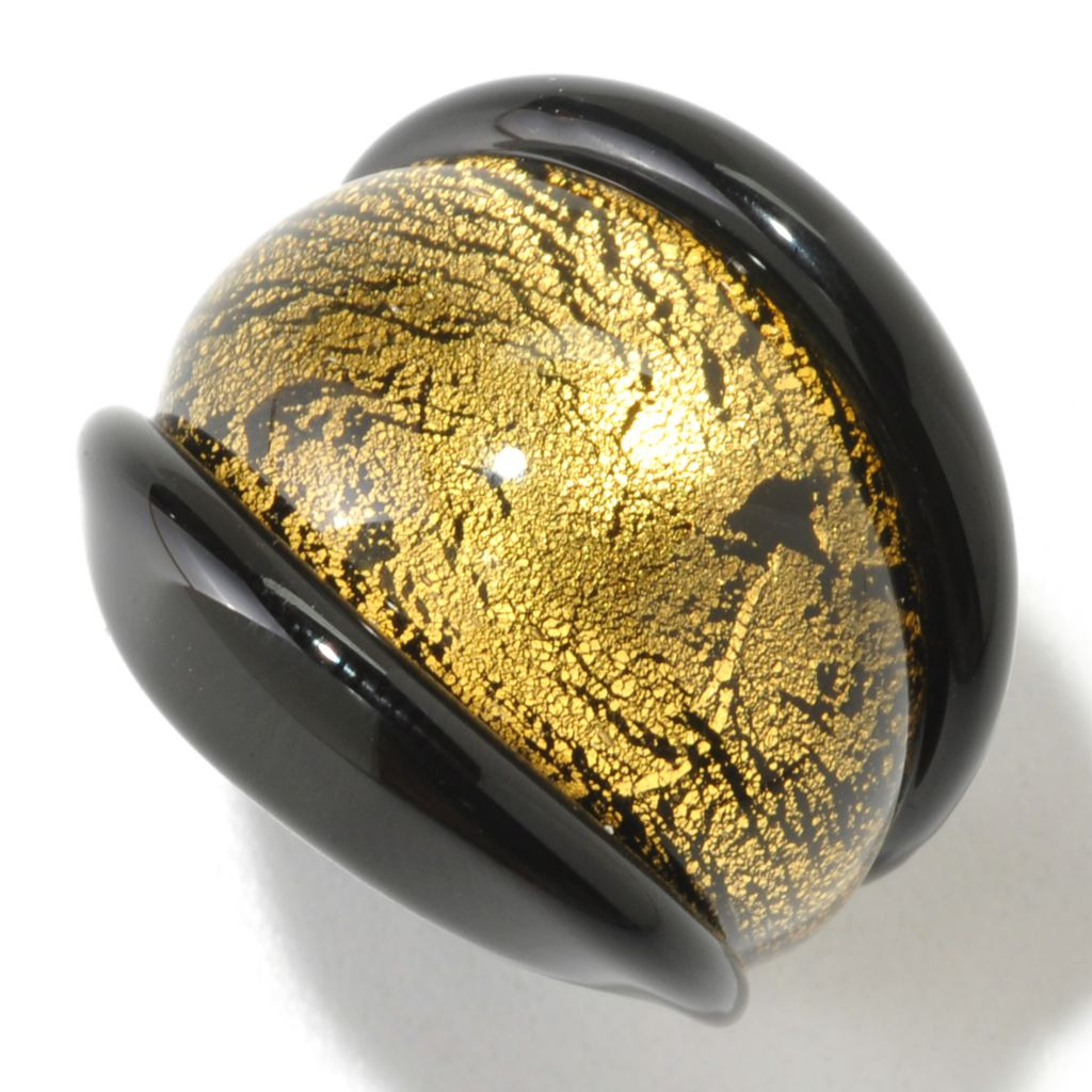 125-076 - Viale18K® Italian Gold Foil Polished Murano Glass Ring