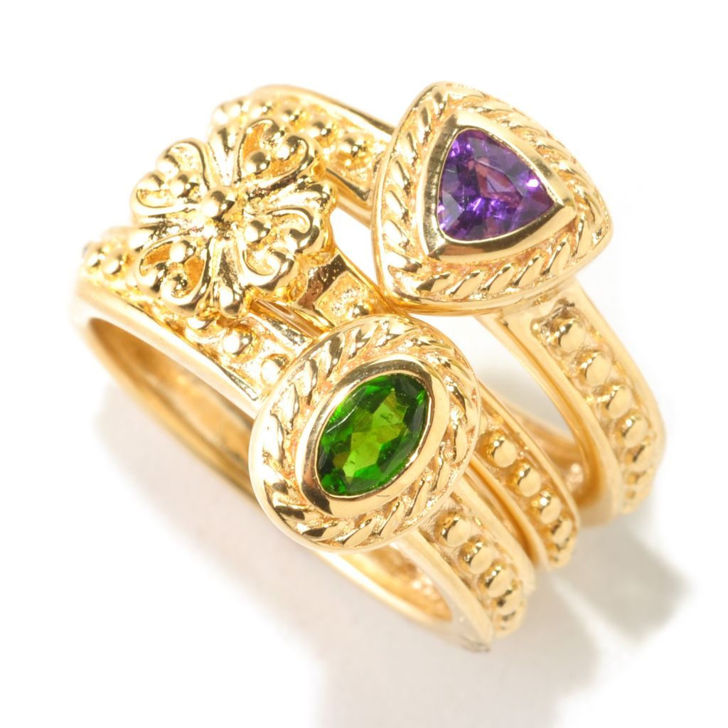 125-126 - Jaipur Bazaar Gold Embraced™ Set of Three Multi Gemstone Stack Rings