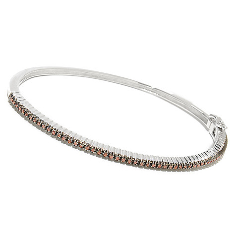 125-127 - Diamond Treasures® Sterling Silver Round Cut Fancy Color Diamond Bangle Bracelet