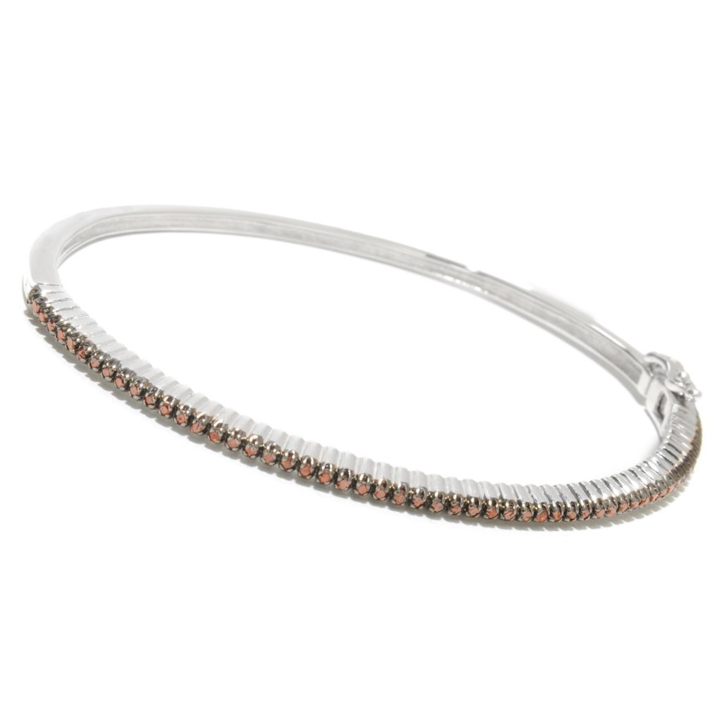 125-127 - Diamond Treasures Sterling Silver Round Cut Fancy Color Diamond Bangle Bracelet