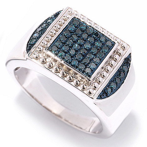 125-128 - Diamond Treasures Men's Sterling Silver 0.49ctw Diamond Beaded Frame Ring