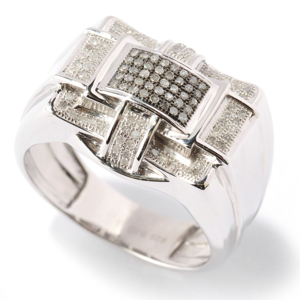 125-132 - Diamond Treasures Men's Sterling Silver 0.31ctw Diamond Multi Level Ring