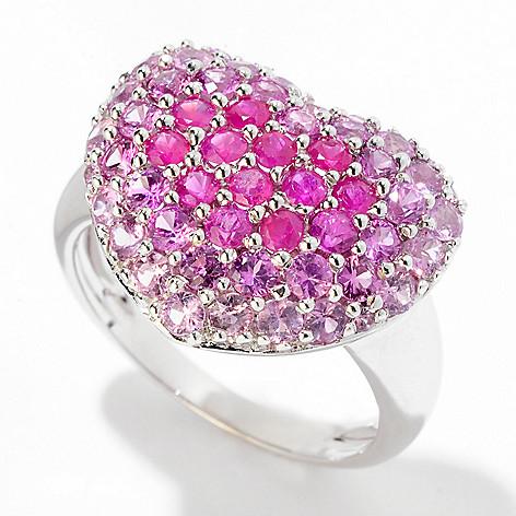 125-135 - Gem Insider™ Sterling Silver 1.52ctw Pink Sapphire Heart Ring