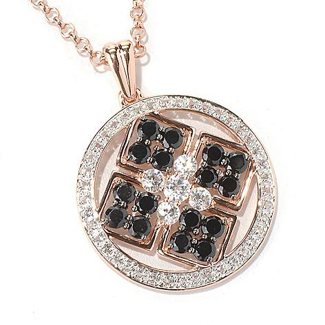 125-139 - NYC II 3.01ctw Black Spinel, White Topaz & Zircon Medallion Pendant w/ Chain