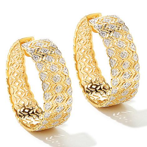 125-143 - Jaipur Bazaar Gold Embraced™ Diamond Filigree Hoop Earrings