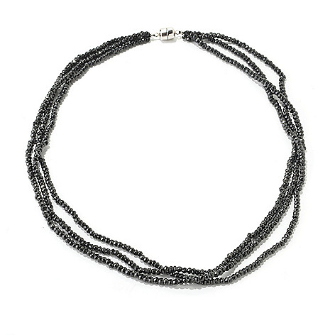 125-169 - Gem Treasures® Sterling Silver Black Spinel Three-Strand Bead Necklace