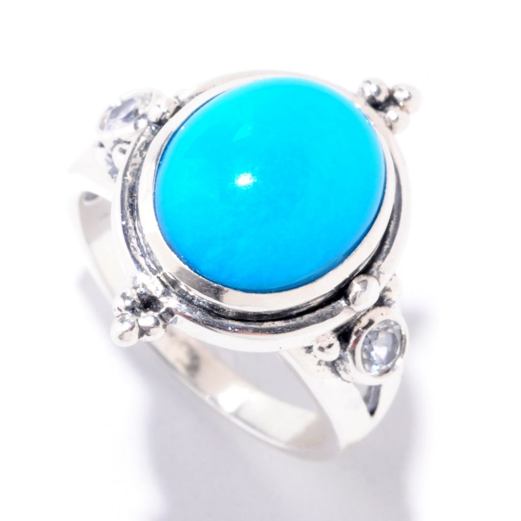 125-170 - Gem Insider Sterling Silver 12 x 10mm Sleeping Beauty Turquoise & White Topaz Ring