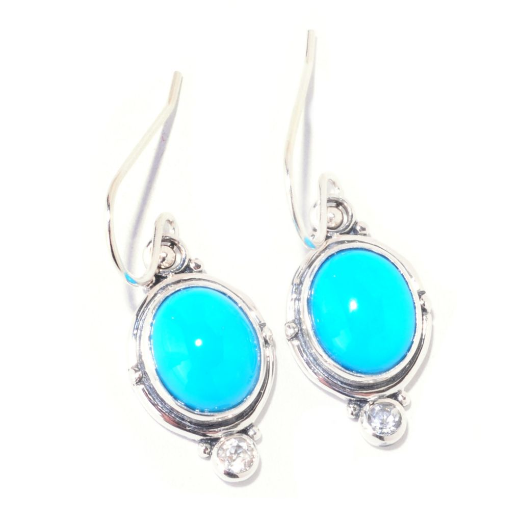 125-173 - Gem Insider Sterling Silver 11 x 9mm Sleeping Beauty Turquoise & Zircon Earrings