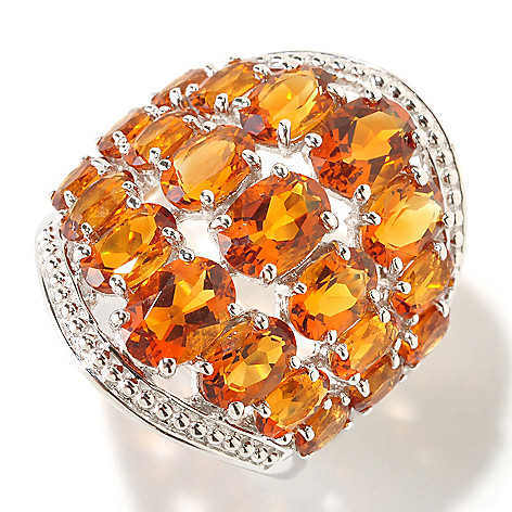 125-179 - Gem Insider Sterling Silver 5.40ctw Oval Madeira Citrine Wide Band Ring