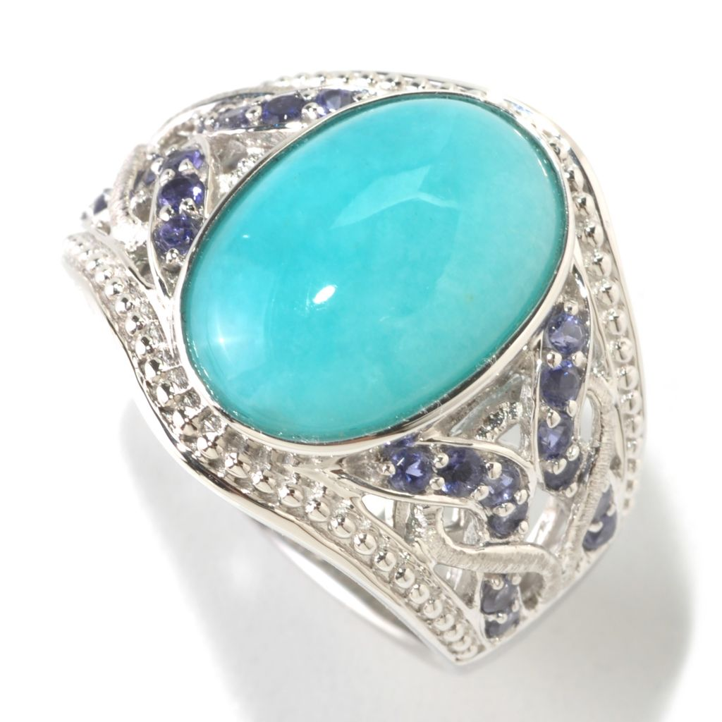 125-186 - Gem Insider Sterling Silver 15x10mm Oval Amazonite & Iolite Ring