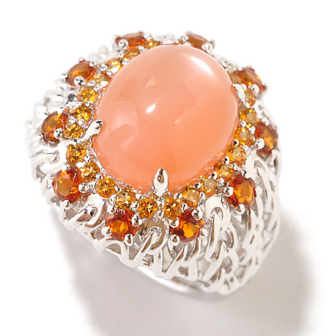 125-195 - Gem Insider Sterling Silver 12 x 10mm Orange Moonstone & Citrine Ring