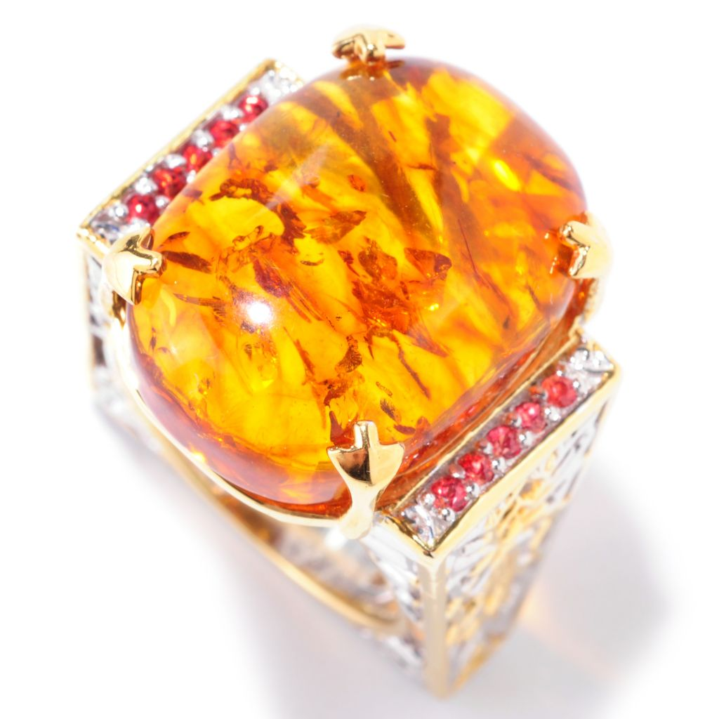 125-202 - Gems en Vogue II 20 x 15mm Baltic Amber & Orange Sapphire Euro Shank Ring