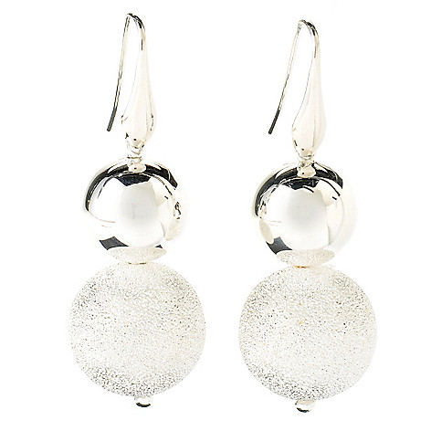 125-236 - SempreSilver® Pave & Polished Ball Earrings
