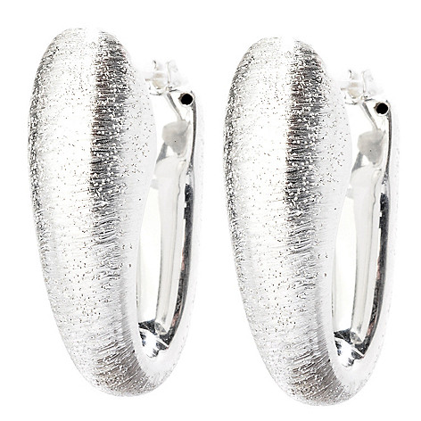 125-239 - SempreSilver® Electroform Elongated Drop Hoop Earrings