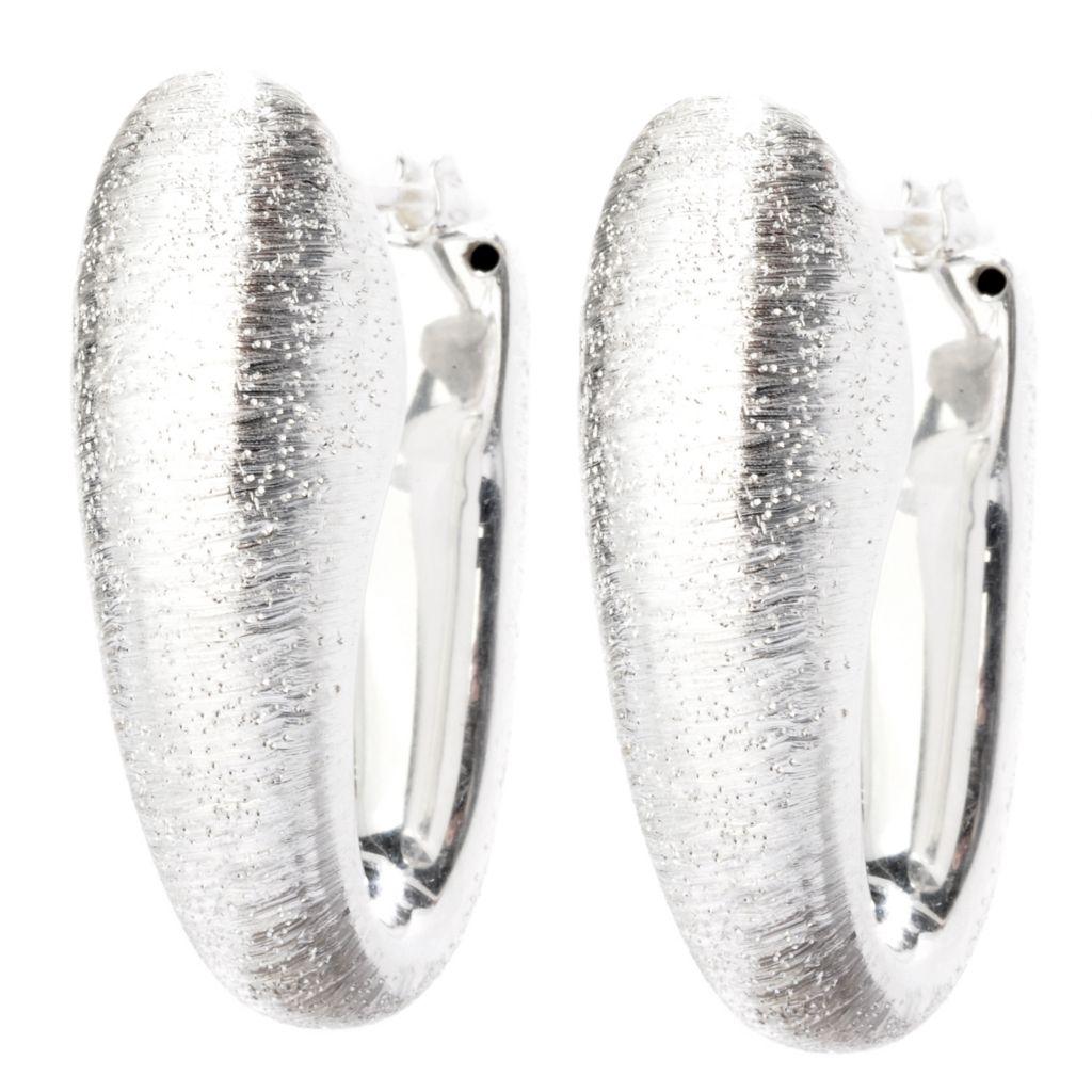 125-239 - SempreSilver® Electroform Elongated Drop Hoop Earrings
