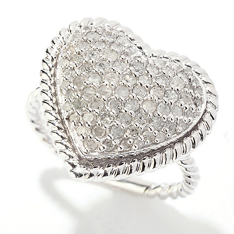 125-256 - Diamond Treasures Sterling Silver 0.75ctw Diamond Heart Ring