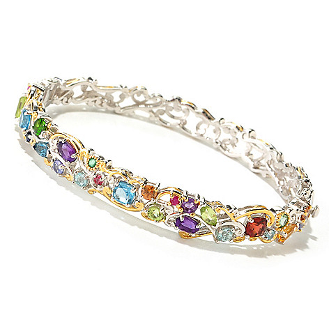125-257 - Gems en Vogue 4.13ctw Multi Gemstone ''Carnaval'' Hinged Bangle Bracelet