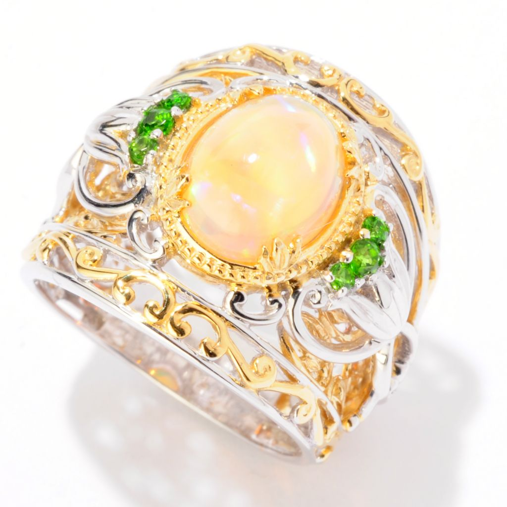 125-264 - Gems en Vogue II 10 x 8mm Ethiopian Opal & Chrome Diopside Wide Band Ring