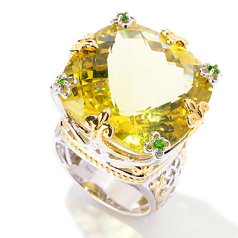 125-272 - Gems en Vogue 29.07ctw Ouro Verde & Chrome Diopside Ring