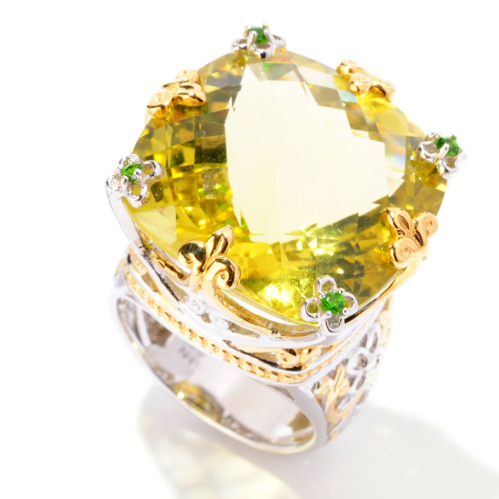 125-272 - Gems en Vogue 29.07ctw Ouro Verde & Chrome Diopside Ring