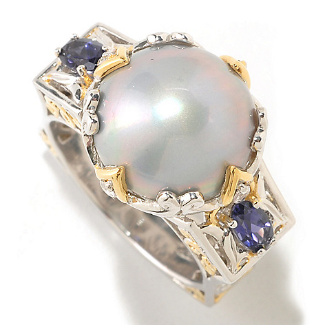 125-275 - Gems en Vogue II Mabe Cultured Pearl & Multi Gemstone Square Shank Ring