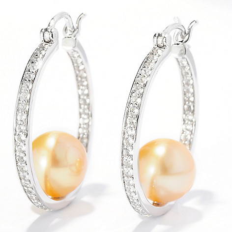 125-302 - Sterling Silver 8-9mm Round Golden South Sea Cultured Pearl & Topaz Hoop Earrings