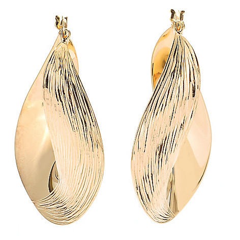 125-317 - Portofino Gold Embraced™ Textured & Twisted Hoop Earrings
