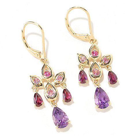 125-320 - NYC II 1.5' 2.29ctw Amethyst, Pink Tourmaline, Garnet & Rubellite Chandelier Earrings