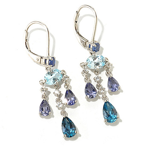 125-322 - NYC II 1.75'' 4.61ctw London Blue Topaz, Kyanite, Iolite & Topaz Earrings
