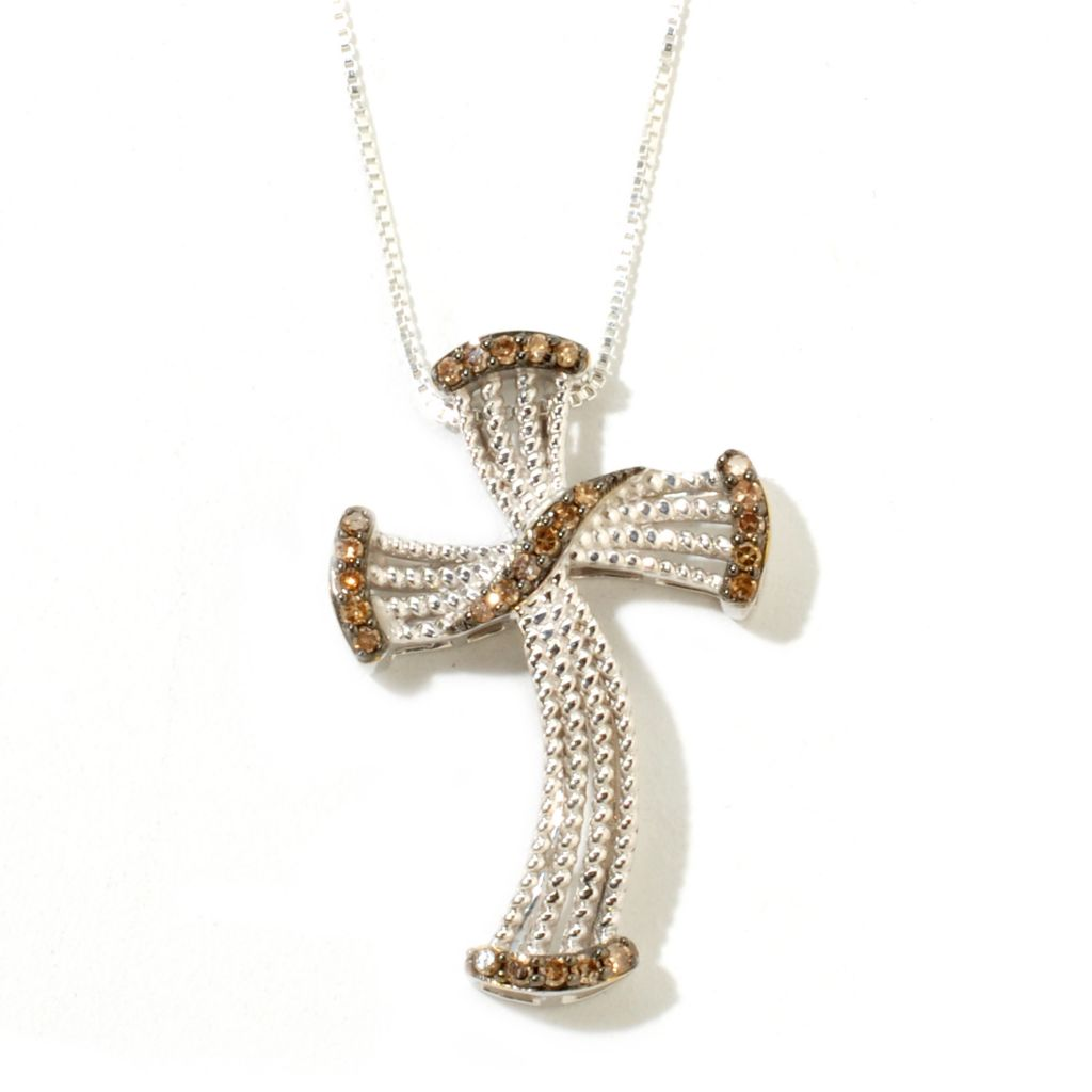 125-361 - Diamond Treasures Sterling Silver 0.25ctw Fancy Color Diamond Wavy Cross Pendant