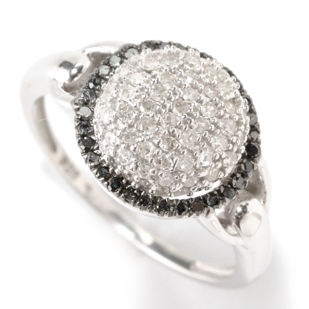 125-365 - Diamond Treasures Sterling Silver 0.50ctw White & Black Pave Round Diamond Ring