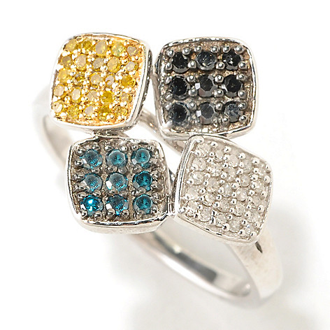 125-367 - Diamond Treasures Sterling Silver 0.40ctw Fancy Colored Diamond Four-Square Ring