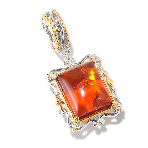 125-371 - Gems en Vogue II 11 x 9mm Baltic Amber ''From Russia with Love'' Cushion Drop Charm