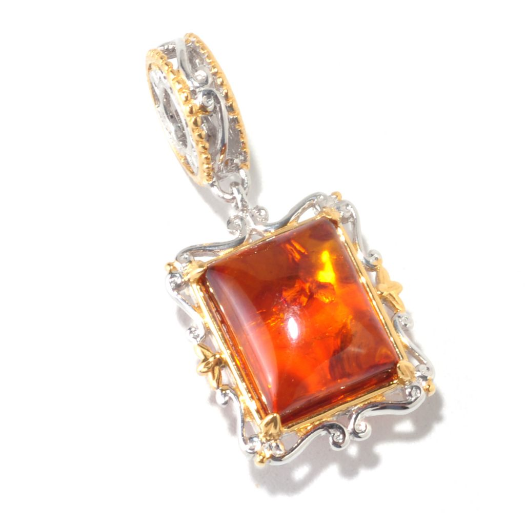 "125-371 - Gems en Vogue II 11 x 9mm Baltic Amber ""From Russia with Love"" Cushion Drop Charm"