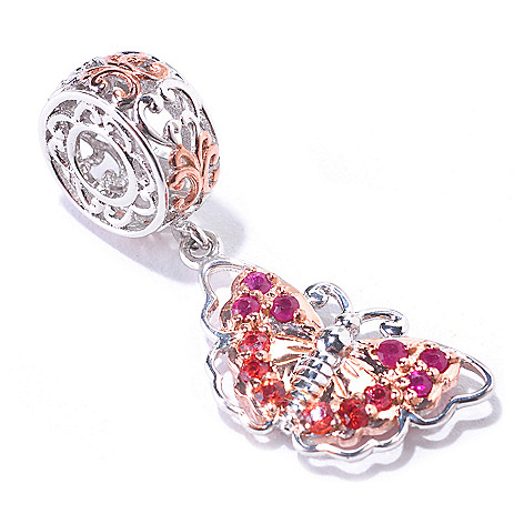 125-372 - Gems en Vogue Ruby & Orange Sapphire Butterfly Charm