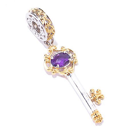 125-373 - Gems en Vogue Amethyst Briolette Filigree Key Drop Charm