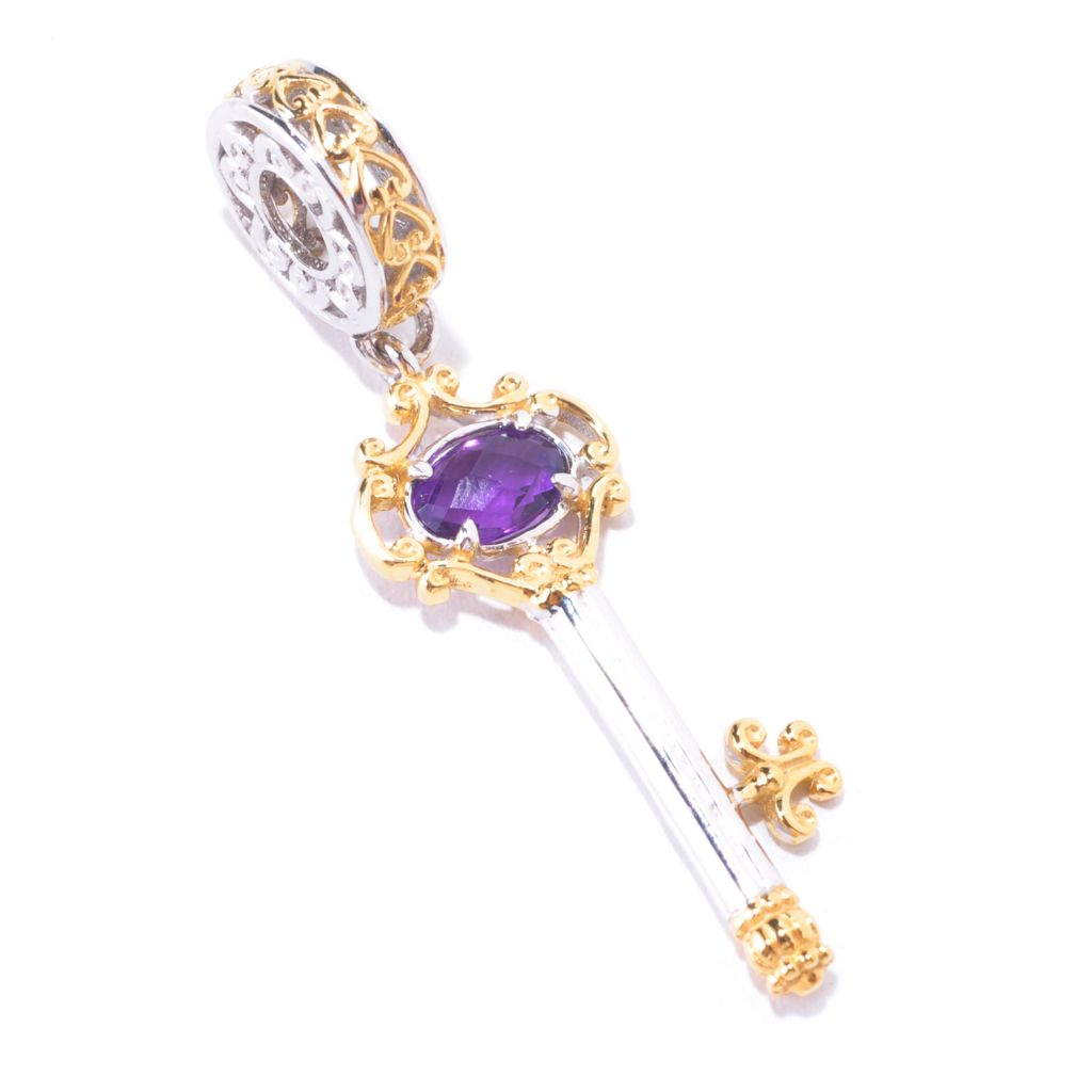 125-373 - Gems en Vogue II Amethyst Briolette Filigree Key Drop Charm