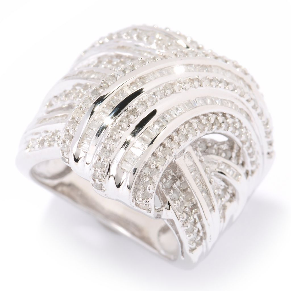 125-399 - Diamond Treasures Sterling Silver 1.00ctw Diamond Overlay Wrap Ring
