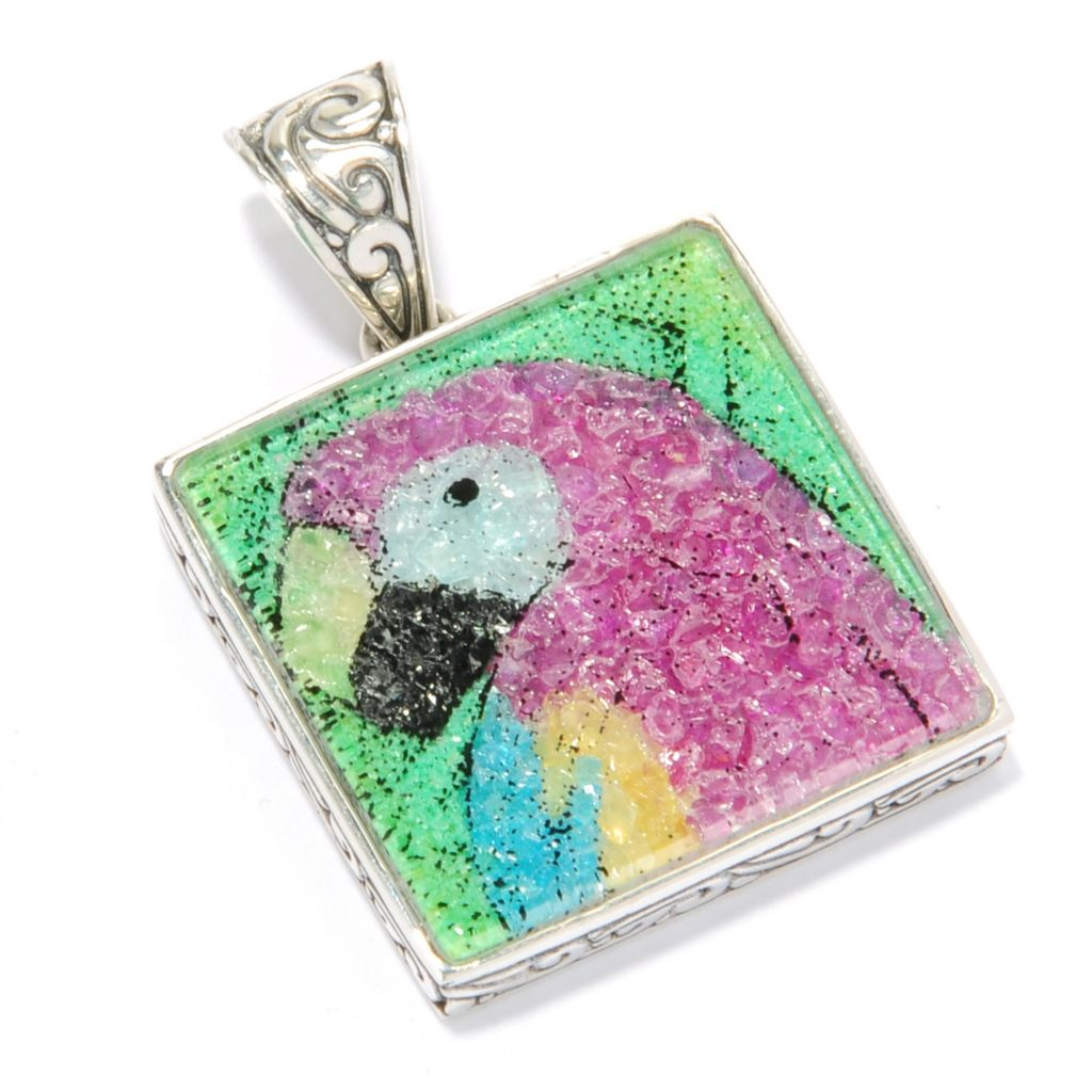 125-405 - Artisan Silver by Samuel B. Crushed Multi Gemstone Animal Pendant