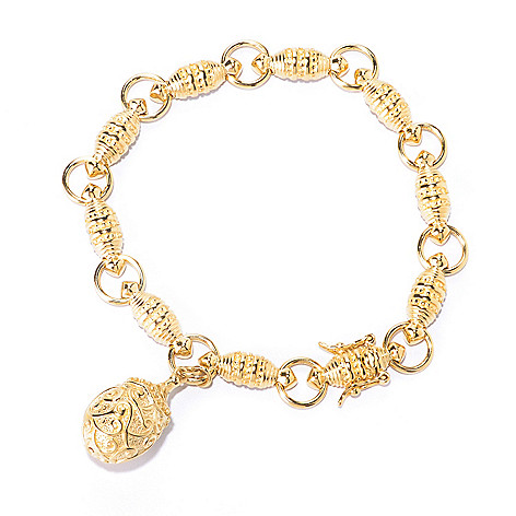 125-457 - Jaipur Bazaar 18K Gold Embraced™ Fancy Link Charm Drop Bracelet