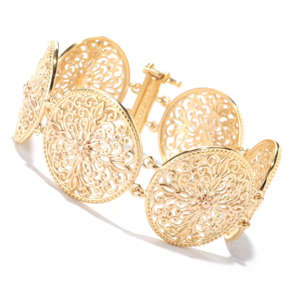 125-458 - Jaipur Bazaar Gold Embraced™ Round Medallion Station Bracelet
