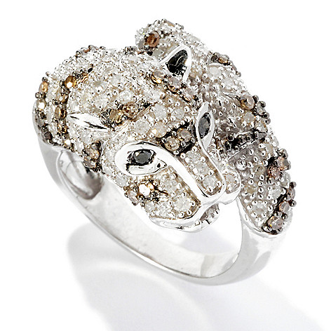 125-463 - Diamond Treasures Sterling Silver 1.48ctw White & Mocha Diamond Cat Bypass Ring